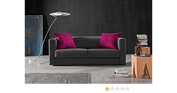Due-home Sofá 3 plazas SAK,Medida 180 cm,Acabado Tela Antimanchas Color (Gris y Cojines Fucsia)
