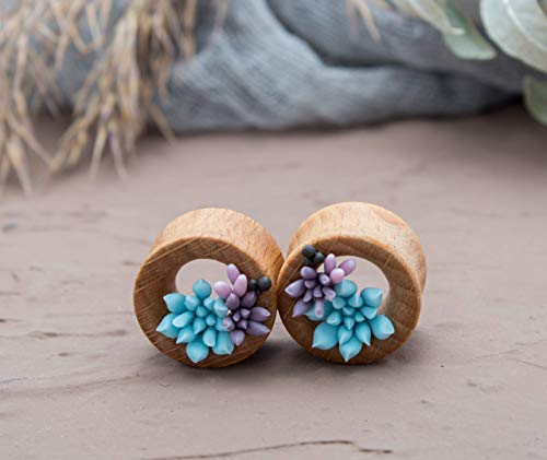 Wedding tunnels cute flower gauge earrings for bride blue pink succulent tiny floral wooden plugs taper stretcher piercing 8mm 10mm 12mm 14mm 16mm 18mm 20mm 0g 00g
