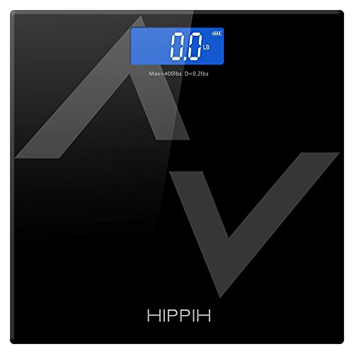 Hippih Digital Body Weight Bathroom Scale with Step-On Technology 400 Pounds, Tempered Glass, Digital Weight Scale Backlit LCD Display HP-D015