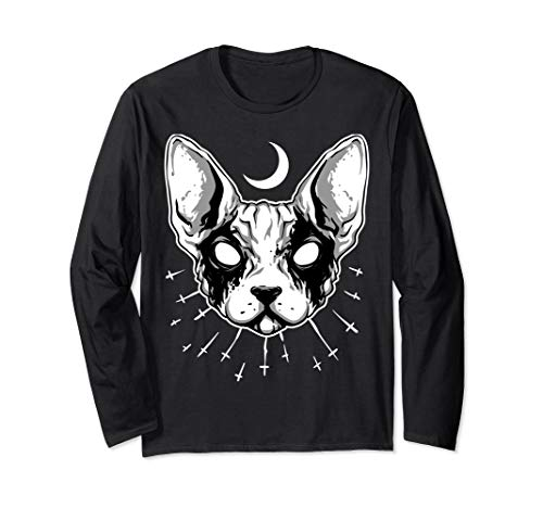 ROCKSTAR Evil Zombie Cat & Moon - Living Dead Kitty - Gothic Long Sleeve T-Shirt]()