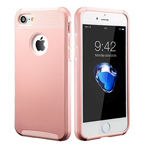 For iPhone 6 6S 8 7 Plus X Case Hybrid Hard Heavy Duty Shockproof Rubber Cover (Rose Gold, iphone 8 Plus)