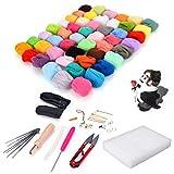 MIMI 50 Colors DIY Weaving Needlework Spinning Craft Kits Soft Wool Felt Roving Felting Needle Tool Set Mat...