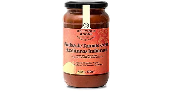Delicious & Sons Salsa de Tomate con Aceitunas Italianas Ecológica 530g: Amazon.es: Alimentación y bebidas