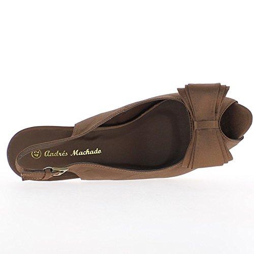 Grandes sandalias marrón tamaño 14cm tacón y plataforma con nodo