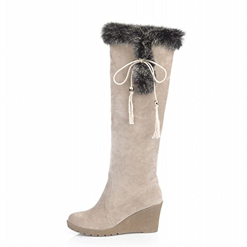 Carol Shoes Women's Casual Concise Wedges Bows Platform Long Snow Boots Beige s8TFek