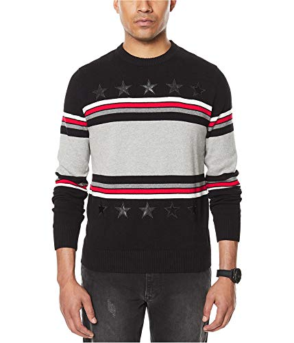 Sean John Mens Big & Tall Striped Faux-Leather Trim Pullover Sweater Black 3XL