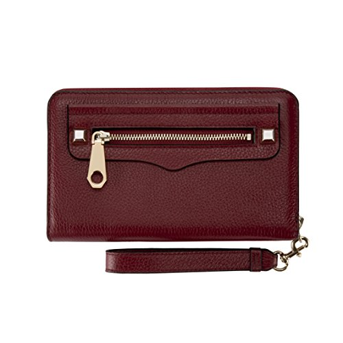 Rebecca Minkoff, Regan Universal Wristlet Case [Protective] Designer Clutch Wristlet fits Most Smartphones - Deep Red