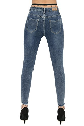 Damen Jeans Hüftjeans Röhre Skinny Röhrenjeans Zerissen Strech Löcher Ripped