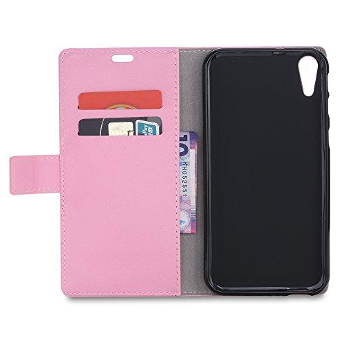 Funda HTC Desire 830 ,Aomo HTC Desire 830 Case Cubierta del caso con cuero [estilo del libro][ranuras para tarjetas][Caso del tirón] de la caja del teléfono de la PU de cuero protectora para HTC Desir Rosa