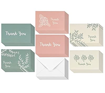 48-Pack Thank You Greeting Cards Bulk Box Set, Blank on the Inside, 6 Floral and Foliage Designs, Pink, Beige, Green, Envelopes Included, 48-Count 4 x 6 Inches