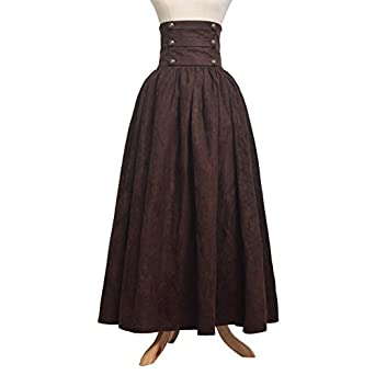 Steampunk Skirts | Bustle Skirts, Lace Skirts, Ruffle Skirts Blessume Gothic Lolita Steampunk High Waist Walking Skirt Brown  AT vintagedancer.com