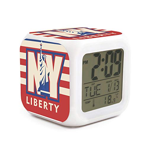 DHBVNMQHHT Alarm Clock Wake Up Bedroom with Data and Temperature Display (Changable Color) Size L8cm x W8cm xH8cm New York City Liberty USA Flag