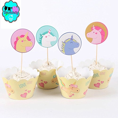 Decolandy 12 sets cute Unicorn Cupcake wrappers and toppers,Unicorn paarty decoration ()