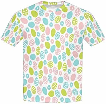 Blue Green Eggs and Flowers INTERESTPRINT Youth T-Shirts Easter with Pink XS-XL