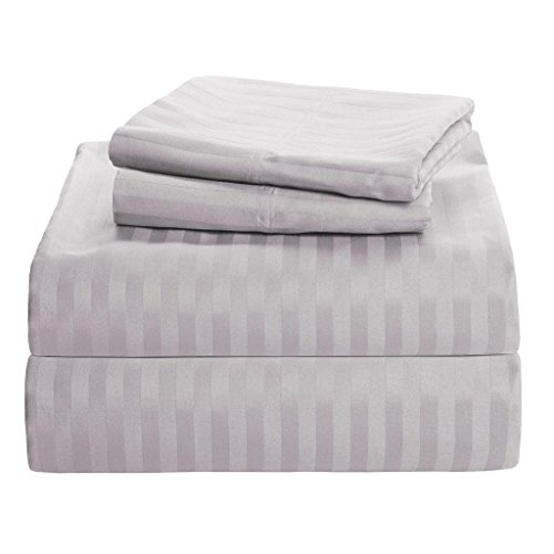 Precious Star Linen Hotel Quality 1000TC Zipper Closer 3pc Duvet Cover Set with Corner Ties, Egyptian Cotton, Silver Grey Striped, Super King (98 x 108 Inch)