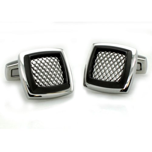 Two-Tone Stainless Steel Men's Mesh Cuff Links w/ Personalized - Tone Cufflinks Personalized Two