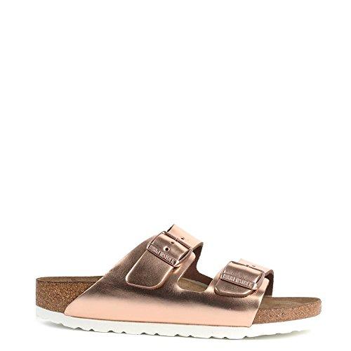Birkenstock Arizona Nubuck Soft Footbed Women's Sandal 40 N EU Metallic-Copper