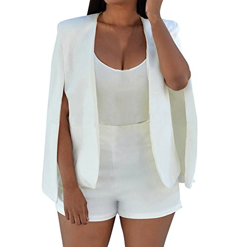 (JESPER Women Loose Long Cloak Blazer Coat Cape Cardigan Jacket Trench Suit for Work (White A, X-Small(USA 0) /Tag S))