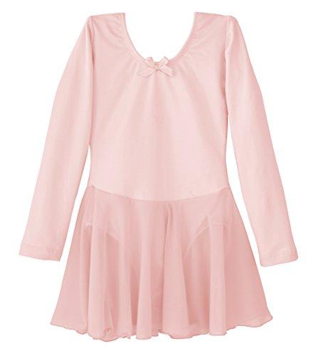 Dancina Girls Skirted Leotard Ballet Dance Dress Long Sleeve Cotton Front Lined 4 Ballet Pink