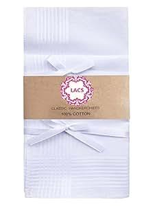 LACS Classic White Strips Border Mens Cotton Hankerchiefs Pack-40cm