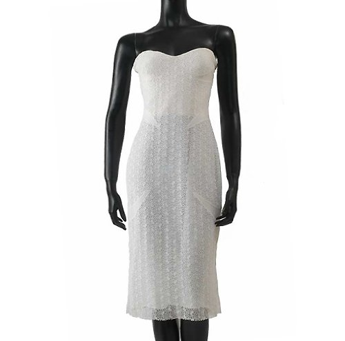 Versace Cotton & Silk Blend White Bustier Strapless Knee Lenght Lace Dress (X Small, White) ()