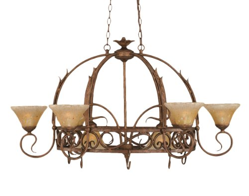 Leaf Lighted Pot Rack - Toltec Lighting 216-BRZ-750 Leaf Eight-Light Pot Rack with Eight-Hooks Bronze Finish with Amber Crystal Glass, 7-Inch (Pots Not Included)