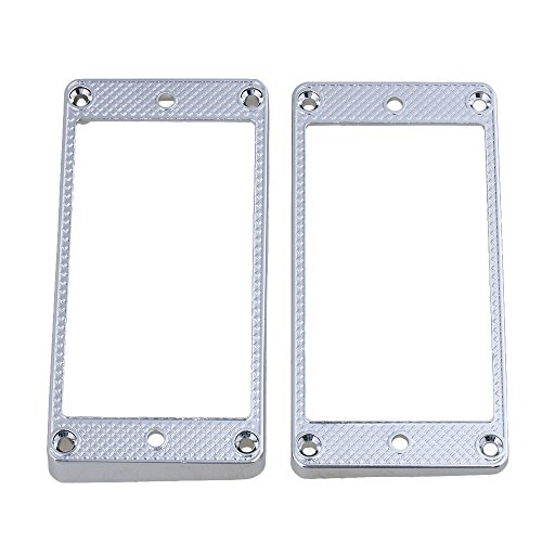 Yibuy Curved Electric Guitar Pickup Frame Mounting Rings Set Metal Chrome Set of 2 (Chrome Pickup Rings)