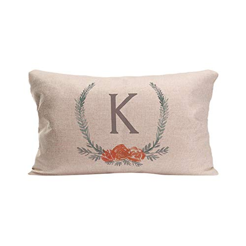 (KafePross Botanical Laurel Wreath Monogram K Spring Summer Home Decorative Cotton Linen Pillow Covers 12X20 Inch)