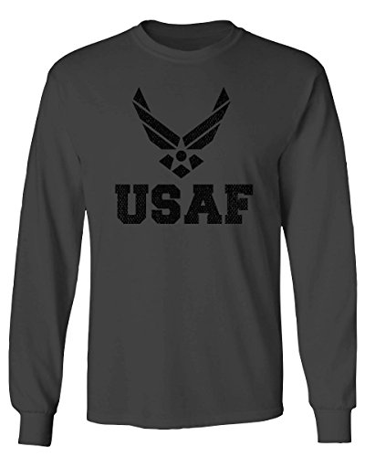 Black Vintage USAF United States Air Force Logo Seal USA American Americamen's Long Sleeve t Shirt (Characol, Large)