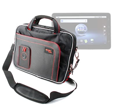 Strong Red & Black Shoulder Strap Carry Case Bag Briefcase For Viewsonic Viewpad 10 inch Screen Tablet PC (Intel Pine Trail-M N455 1.66GHz Processor, 16GB SSD HDD , 1GB RAM, Windows 7 Premium Google Android 1.6), With Multiple Storage Pockets