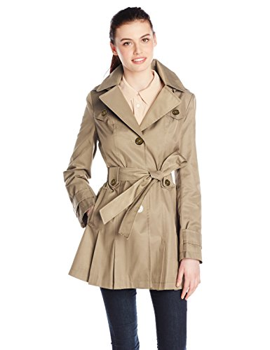 Via Spiga Women's Single-Breasted Belted Trench Coat with Hood, Sand, Medium