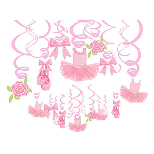 Ballerina Birthday Party Supplies Pink Tutus Ballet Shoes Bow-knot Rose Ballerina Birthday Party Supplies Theme Party - 30Ct Ballerina Hanging Swirl Decorations