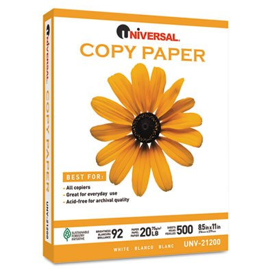 Universal Copy Paper, 92 Brightness, 20 lb, 8-1/2 x 11, White, 200,000 Sheets/PLT