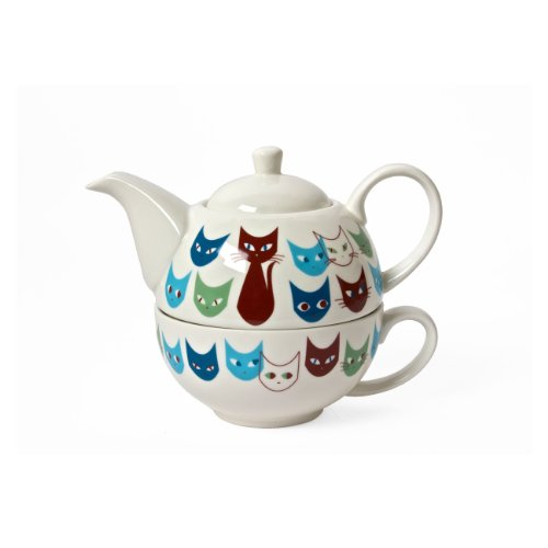 MIYA Jewel Japan Mask Cat 12-Ounce Teapot and Mug Set, Bl...