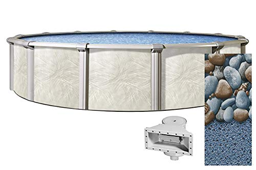 Lake Effect 24 Foot Round Fallston Above Ground Swimming Pool | 52 Inch Height | Rock Island Overlap Liner and Widemouth Skimmer Bundle | Resin Protected Steel Sided Walls