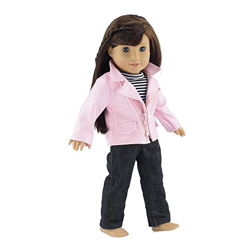 - 18 Inch Doll Clothes | Stylish Pink Faux Leather Crop Jacket Outfit, Includes Jeans and Striped Long Sleeved T-Shirt | Fits American Girl Dolls