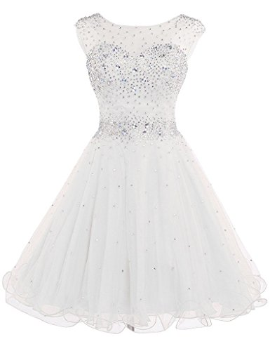 DianSheng Women's Short Tulle Beading Homecoming Dress Graduation Gown Ivory US2 by DianSheng