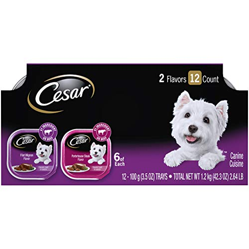 CESAR Wet Dog Food Classic Loaf in Sauce Filet Mignon & Porterhouse Steak Flavors Variety Pack, (24) 3.5 oz. Trays