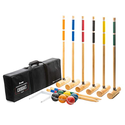 Franklin Sports Croquet Sets - Includes Croquet Wood Mallets, All Weather Balls, Wood Stakes and Metal Wickets - Carry Case Included - Professional