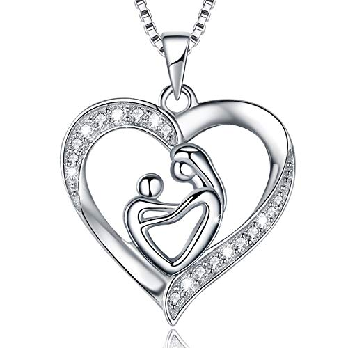 MUATOGIML Mother's Love 925 Sterling Silver Mother and Child Love Heart Pendant Necklace, Jewelry Gifts for Mom Child Women Girls