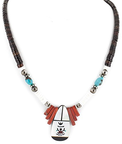 (Certified Authentic Navajo .925 Sterling Silver Inlay Natural Graduated Melon Shell Turquoise Mother of Pearl Red Jasper Native American Necklace)