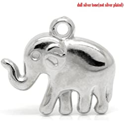 Lucky Elephant Charm Pendants 48 Pack, Silver Tone Wholesale Bulk Lot, CCB Plastic
