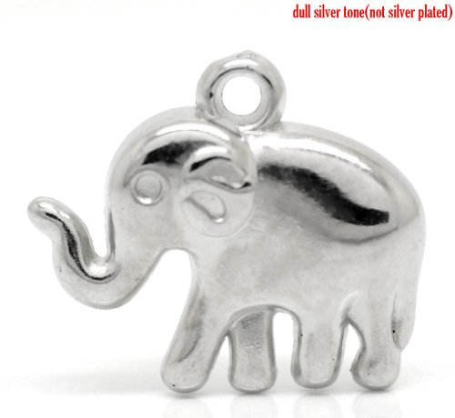 Charm Elephant Glass (Lucky Elephant Charm Pendants 48 Pack, Silver Tone Wholesale Bulk Lot, CCB Plastic)