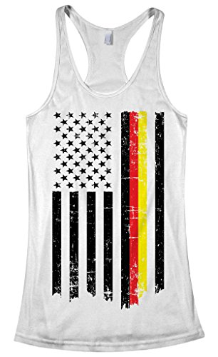 Threadrock Women's Germany USA German American Flag Racerback Tank Top M White