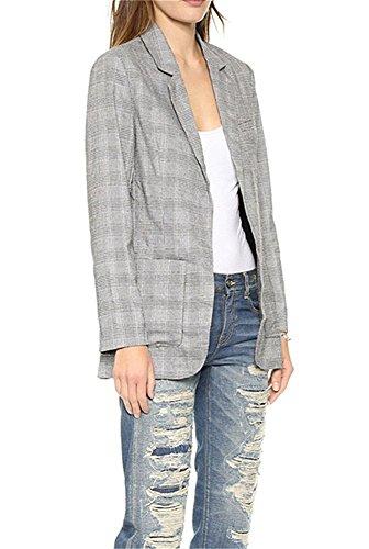 Patrickcain Women's Boyfriend Slim Fit Plaid Open-front Blazer Jacket W Pocket