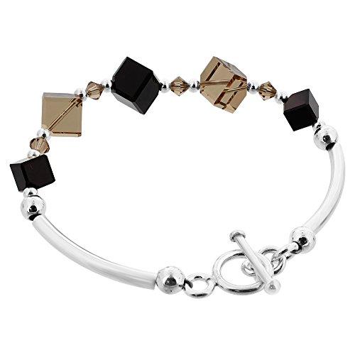 Gem Avenue 925 Sterling Silver Diagonal Cubes Swarovski Elements Black & Brown Crystal 7 inch Handmade Bracelet for Women