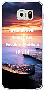 S6 Edge Case christian lyrics,Samsung Galaxy S6 Edge Case Bible Verses Quotes With God All Things Are Possible -Matthew 19 : 26 by runtopwell