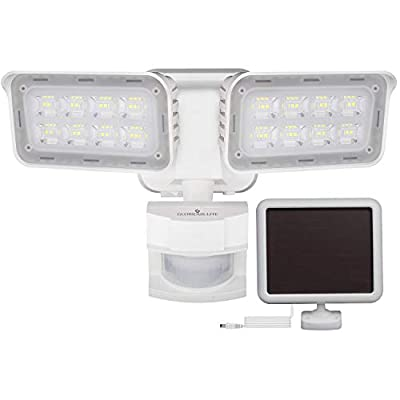 GLORIOUS-LITE Solar Lights Outdoor, 1500LM Super Bright LED Motion Sensor Security Light with Auto & Permanent On Mode, IP65 Waterproof, 6000K, Adjustable 2 Heads Solar Flood Light for Porch, Backyard