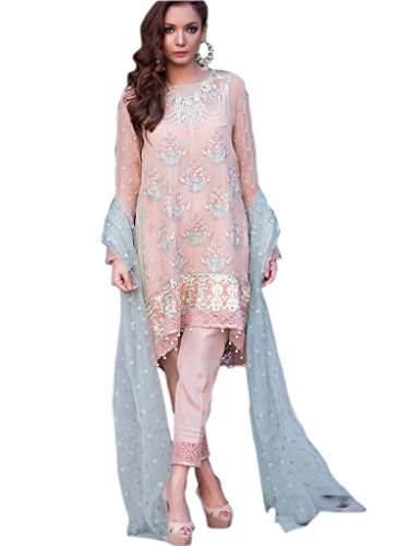 Shoppingover Indian ethnic Bollywood Party Wear Anarkali Suit In Georgette Fabric-Beige Color