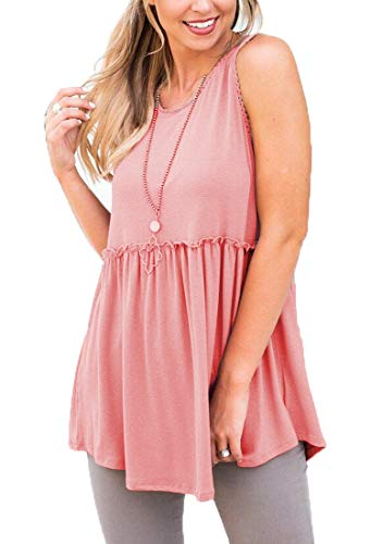 Baby Doll Tunic Tank - OURS Women's Loose fit Ruffle Hem Sleeveless Peplum Tunic Tops (Pink, XL)